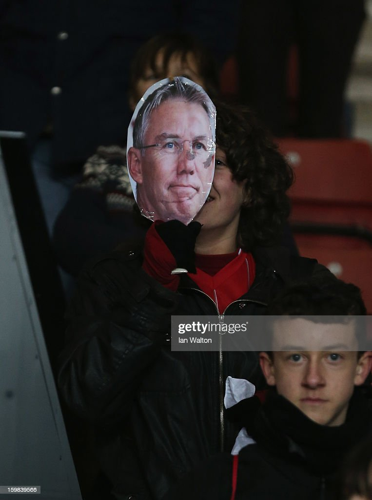 A Southampton fan displays a mask in support of former manager Nigel Adkins prior to the Barclays Premier League match between Southampton and Everton at St Mary's Stadium on January 21, 2013 in Southampton, England. Adkins was replaced by manager Mauricio Pochettino.