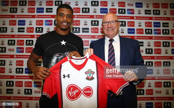 Southampton FC sign Mario Lemina from Juventus on a 5 year contract pictured at the Staplewood Campus with Vice Chairman Les Reed on August 8 2017 in...
