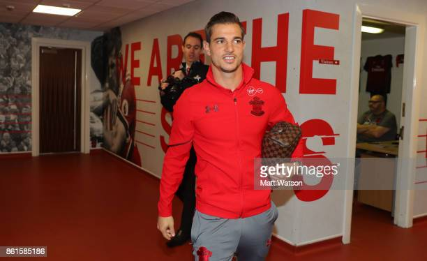Southampton FC's Cedric arrives ahead of the Premier League match between Southampton and Newcastle United at St Mary's Stadium on October 15 2017 in...
