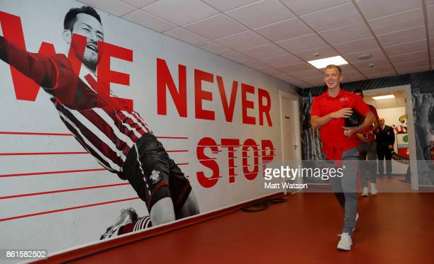 Southampton FC's James WardProwse arrives ahead of the Premier League match between Southampton and Newcastle United at St Mary's Stadium on October...