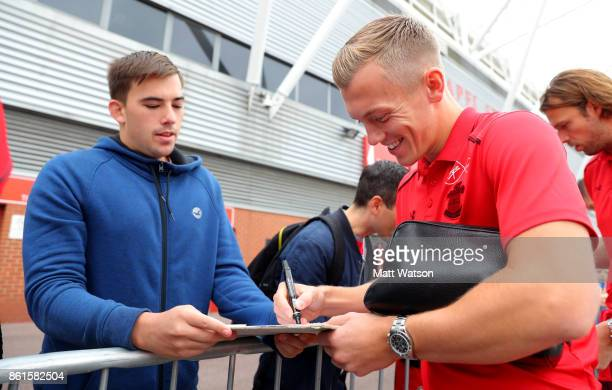 Southampton FC's James WardProwse meets fans ahead of the Premier League match between Southampton and Newcastle United at St Mary's Stadium on...
