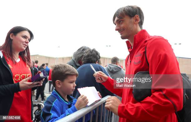 Southampton FC's Manolo Gabbiadini meets fans ahead of the Premier League match between Southampton and Newcastle United at St Mary's Stadium on...