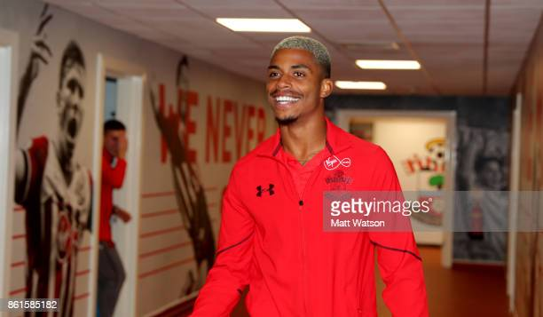 Southampton FC's Mario Lemina arrives ahead of the Premier League match between Southampton and Newcastle United at St Mary's Stadium on October 15...