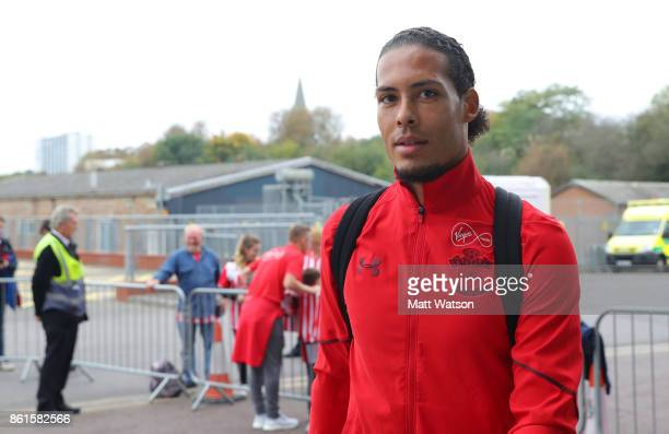 Southampton FC's Virgil Van Dijk arrives ahead of the Premier League match between Southampton and Newcastle United at St Mary's Stadium on October...