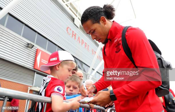 Southampton FC's Virgil Van Dijk meets fans ahead of the Premier League match between Southampton and Newcastle United at St Mary's Stadium on...