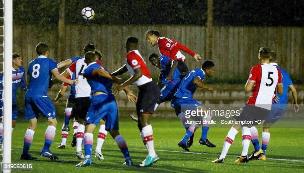Southampton FC's Virgil Van Dijk scores during the U23 Premier League 2 match between Southampton U23 and Stoke City U23 at the Staplewood Campus on...