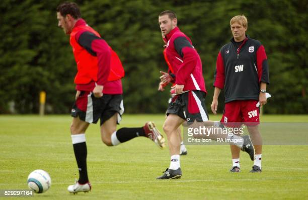 Southampton Football Club's caretaker manager Steve Wigley oversees a coaching session at the club's training ground near the city after it was...