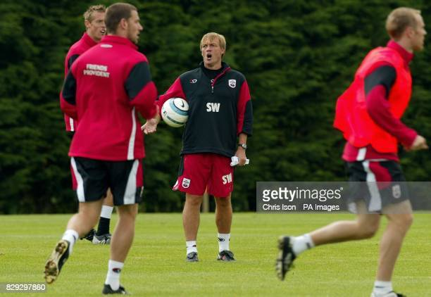 Southampton Football Club's caretaker manager Steve Wigley shouts instructions at the club's training ground near the city after it was announced...