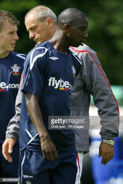 Southampton footballer Bradley WrightPhillips passes his manager Jan Poortvliet at their Staplewood facility in the New Forest