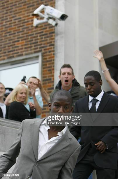 Southampton footballers Bradley WrightPhillips front and Nathan Dyer right leave Portsmouth Magistrates' Court where they appeared to answer charges...