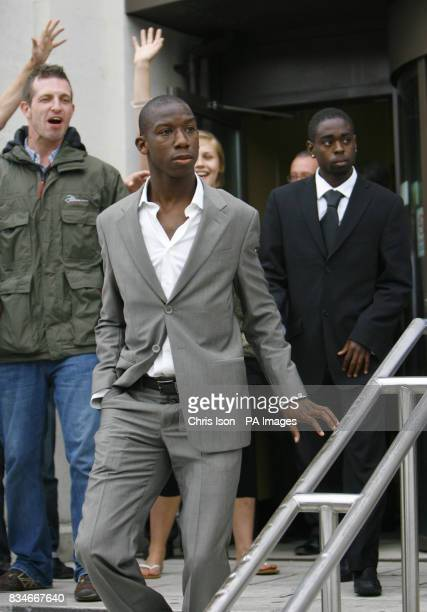 Southampton footballers Bradley WrightPhillips left and Nathan Dyer behind leave Portsmouth Magistrates Court where they appeared to answer a charge...