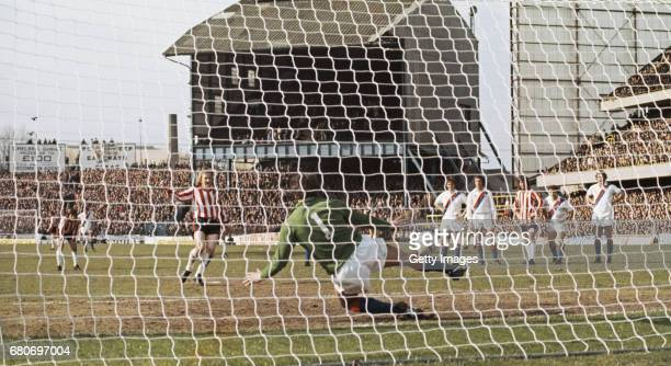 Southampton full back David Peach scores from the penalty spot past Paul Hammond to give them a 20 lead against Crystal Palace in the 1976 FA Cup...