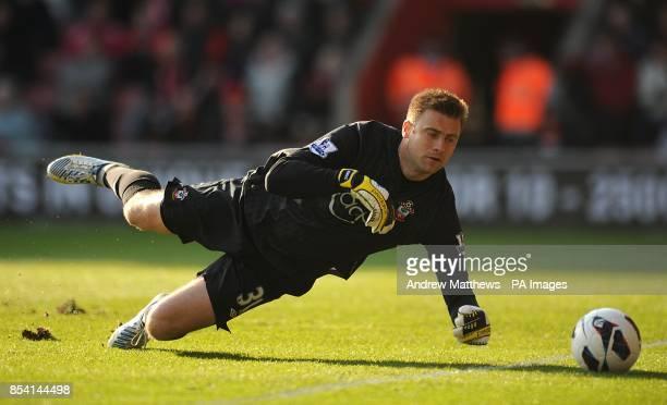 Southampton goalkeeper Artur Boruc dives to make a save