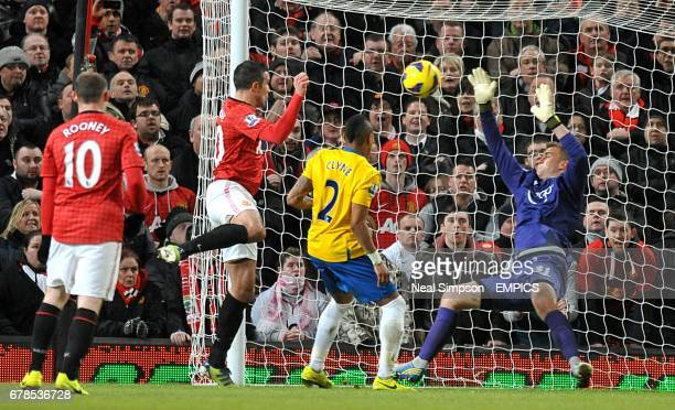 Southampton goalkeeper Artur Boruc makes a save from Manchester United's Robin Van Persie