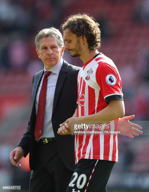 Southampton manager Claude Puel and Southampton's Manolo Gabbiadini after the final whistle during the Premier League match at St Mary's Stadium...