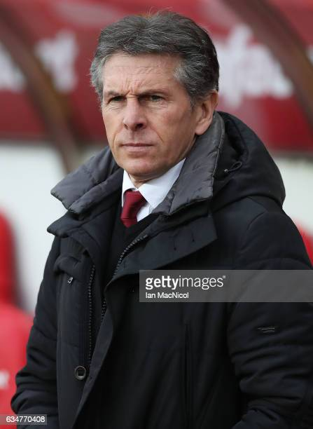 Southampton manager Claude Puel is seen during the Premier League match between Sunderland and Southampton at Stadium of Light on February 11 2017 in...