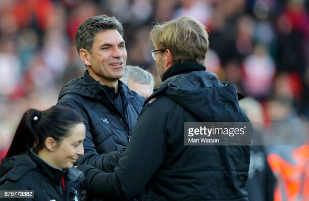Southampton manager Mauricio Pellegrino and Jurgen Klopp during the Premier League match between Liverpool and Southampton at Anfield on November 18...
