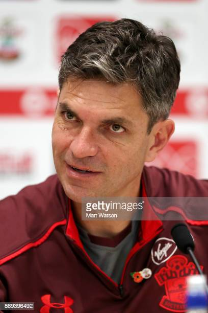 Southampton manager Mauricio Pellegrino during a Southampton FC press conference at the Staplewood Campus on November 2 2017 in Southampton England