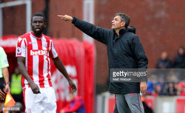 Southampton manager Mauricio Pellegrino during the Premier League match between Stoke City and Southampton at the Bet365 Stadium on September 30 2017...