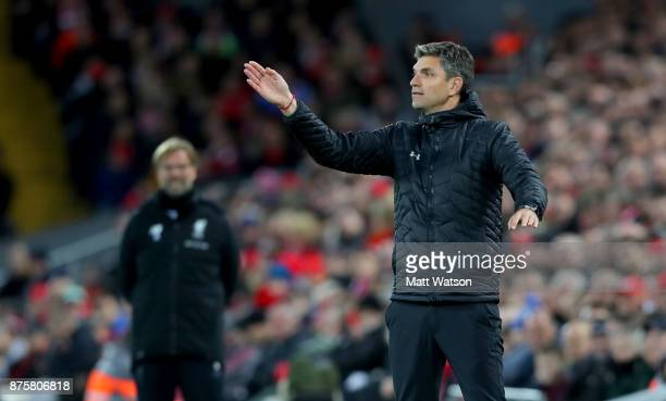 Southampton manager Mauricio Pellegrino during the Premier League match between Liverpool and Southampton at Anfield on November 18 2017 in Liverpool...