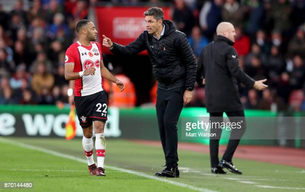 Southampton manager Mauricio Pellegrino gives instruction to Nathan Redmond during the Premier League match between Southampton and Burnley at St...