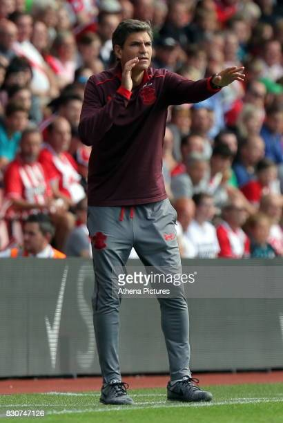 Southampton manager Mauricio Pellegrino gives instructions to his players during the Premier League match between Southampton and Swansea City at the...