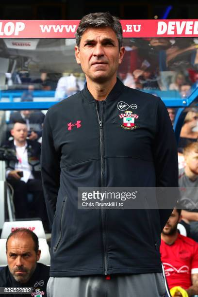 Southampton manager Mauricio Pellegrino looks on during the Premier League match between Huddersfield Town and Southampton at the John Smith's...