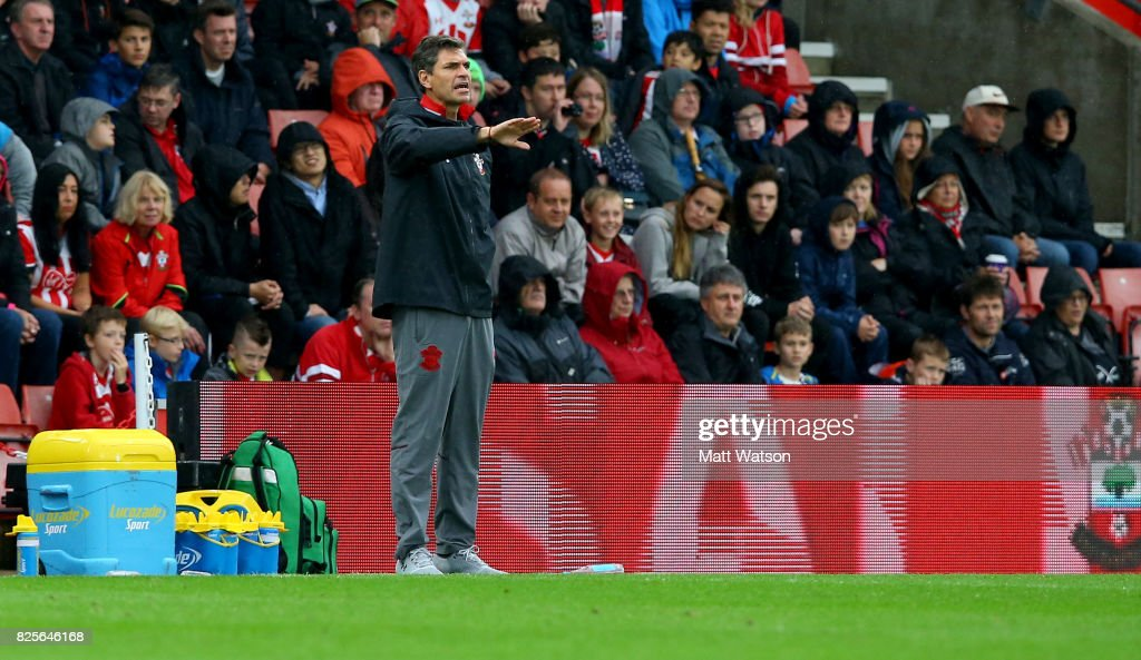 Southampton manager Mauricio Pellegrino reacts during the pre-season friendly between Southampton FC and Augsburg at St Mary's Stadium on August 2, 2017 in Southampton, England.
