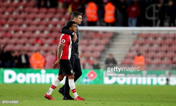Southampton manager Mauricio Pellegrino with Ryan Bertrand during the Premier League match between Southampton and Burnley at St Mary's Stadium on...