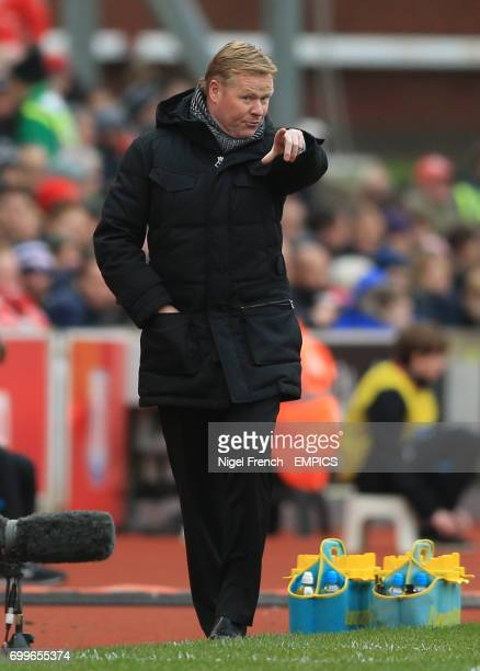 Southampton manager Ronald Koeman gestures on the touchline against Stoke City