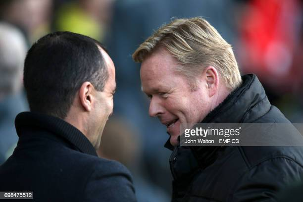 Southampton manager Ronald Koeman greets Everton manager Roberto Martinez before kickoff