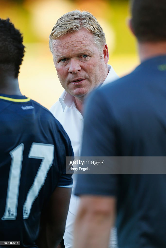 Southampton manager Ronald Koeman looks on during the pre-season friendly match between KSK Hasselt and Southampton at the Stedelijk Sportstadion on July 17, 2014 in Hasselt, Belgium.