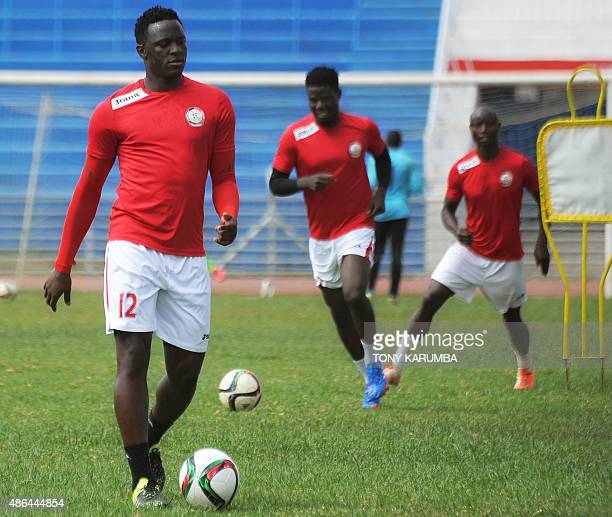Southampton midfielder Victor Wanyama takes part in a training on September 3 2015 in the Kenyan capital Nairobi fews days ahead the African Nations...