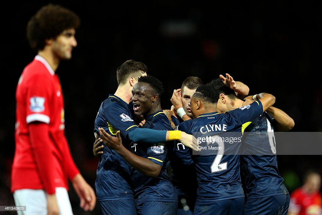 Southampton players celebrate victory after the Barclays Premier League match between Manchester United and Southampton at Old Trafford on January 11, 2015 in Manchester, England.