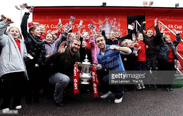 Southampton players Kelvin Davis and Rickie Lambert pose with the FA Cup during the FA Cup Trophy Tour at St Mary's Stadium on February 4 2010 in...