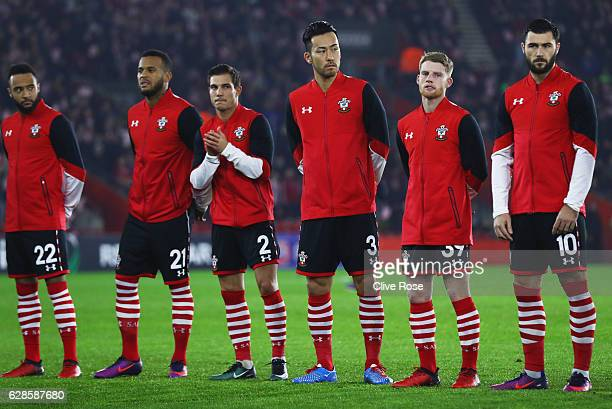 Southampton players line up prior to the UEFA Europa League Group K match between Southampton FC and Hapoel Be'erSheva FC at St Mary's Stadium on...
