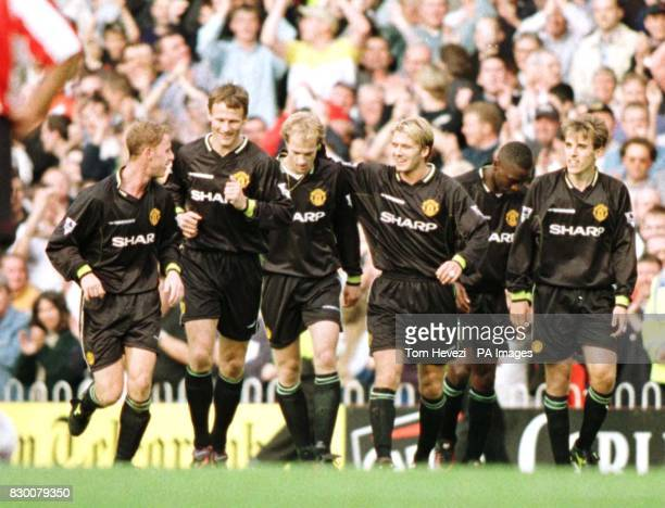 FEATURE Southampton v Manchester United Jordi Cruyff celebrates his goal with the Manchester United teammates Teddy Sheringham and David Beckham...