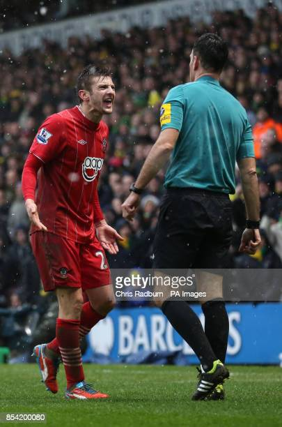 Southampton's Adam Lallana gestures towards referee Mike Clattenburg and is given a yellow card during the Barclays Premier League match at Carrow...