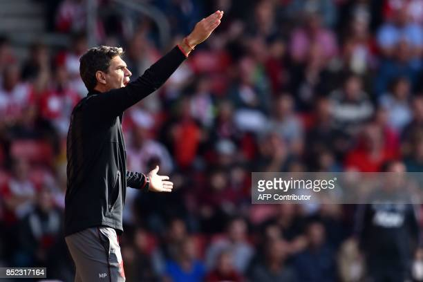 Southampton's Argentinian manager Mauricio Pellegrino gestures on the touchline during the English Premier League football match between Southampton...