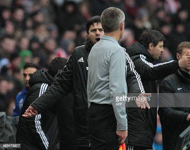 Southampton's Argentinian manager Mauricio Pochettino protests to the assistant referee during the English Premier League football match between...