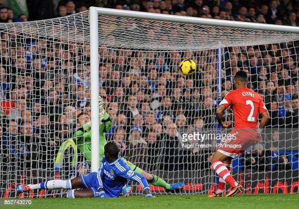 Southampton's Artur Boruc makes a save from Chelsea's Demba Ba Moments later Gary Cahill headed into an empty net to score his sides first goal...