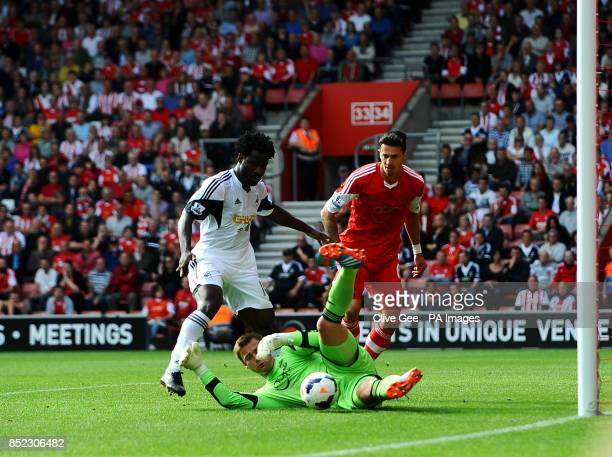 Southampton's Artur Boruc saves a shot at the feet of Swansea's Wilfried Bony during the Barclays Premier League match at St Marys Southampton