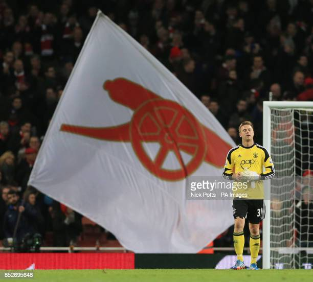 Southampton's Artur Boruc shows his dejection after his mistake lead to Arsenal's Olivier Giroud scoring the opening goal in the Barclays Premier...