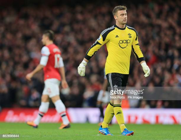 Southampton's Artur Boruc shows his dejection after his mistake leads to Arsenal's Olivier Giroud scoring the opening goal in the Barclays Premier...