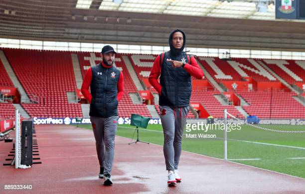 Southampton's Charlie Austin and Virgil Van Dijk arrive ahead of the Premier League match between Southampton and Arsenal at St Mary's Stadium on...