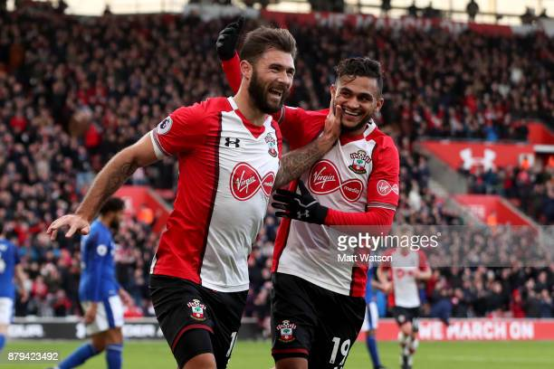 Southampton's Charlie Austin celebrates with Sofiane boufal during the Premier League match between Southampton and Everton at St Mary's Stadium on...