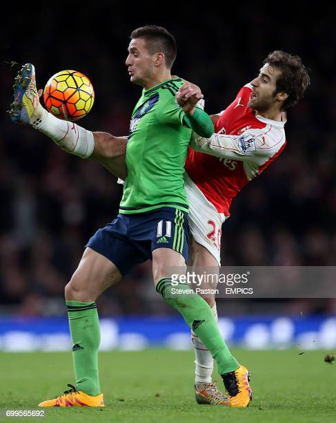 Southampton's Dusan Tadic and Arsenal's Mathieu Flamini battle for the ball