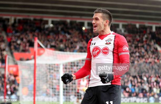 Southampton's Dusan Tadic celebrates after opening the scoring during the Premier League match between Southampton and Everton at St Mary's Stadium...
