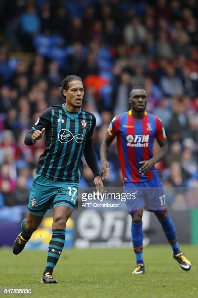 Southampton's Dutch defender Virgil van Dijk and Crystal Palace's Zaireborn Belgian striker Christian Benteke in action during the English Premier...