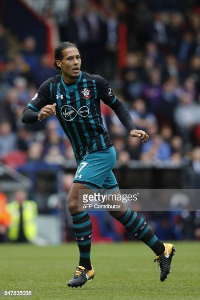Southampton's Dutch defender Virgil van Dijk in action during the English Premier League football match between Crystal Palace and Southampton at...
